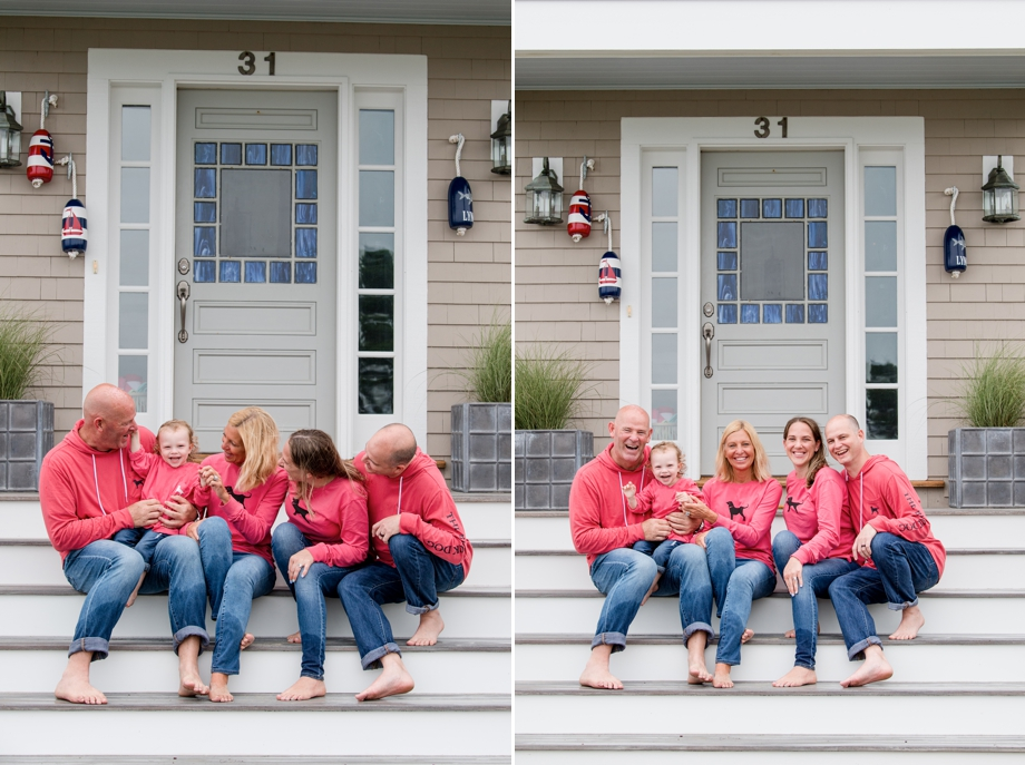 New Seabury Family seating on their front stairs