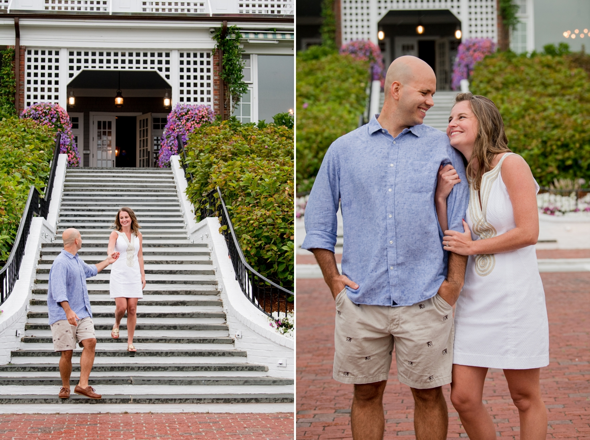 Engaged couple infornt of Chathams Bar Inn in Chatham MA