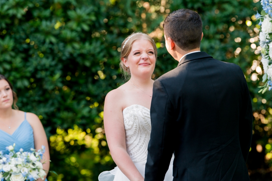 bride at wedding ceremony in Sterling MA