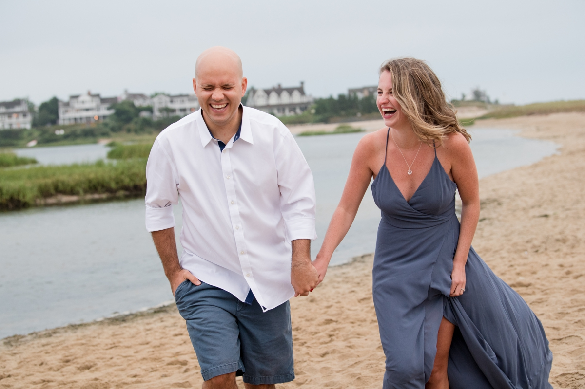Engaged Couple Laughing on beach