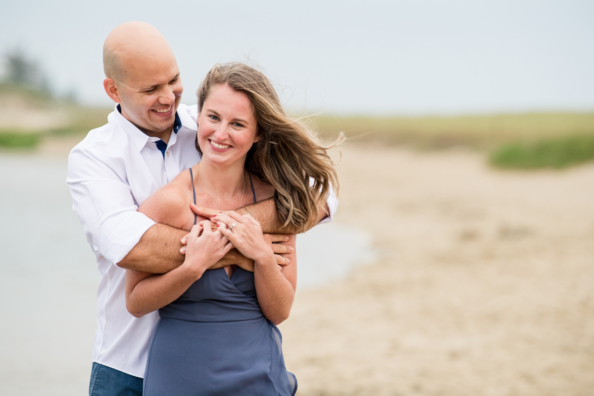 White and blue engagement photo