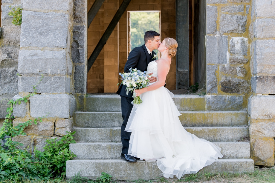 Old Stone Church in West Boylston Bride and Groom Portrait