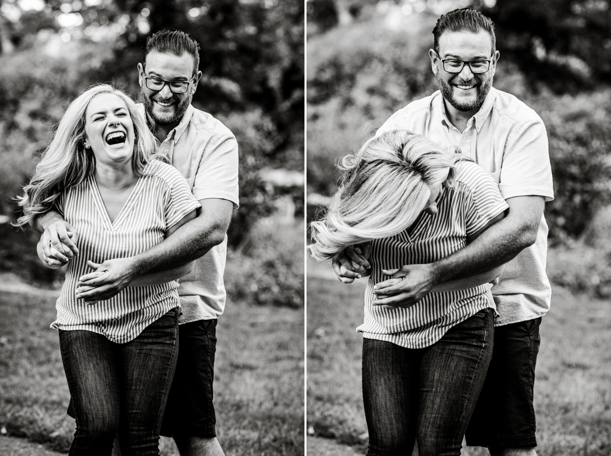 laughing bride and groom to be at moore state park